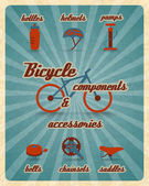Bicycle parts poster — Stock Vector