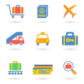 Airport Icons Flat — Stockvektor