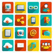 Social Media Icons Flat — Stockvektor