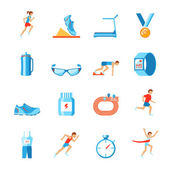Running icons flat — Stock Vector