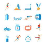 Running icons flat — Stock Vector