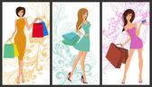 Shopping Girl-banner — Stockvektor