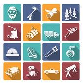 Lumberjack Woodcutter Icons — Stock Vector