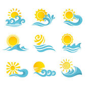 Waves Sun Icons Set — Stock Vector