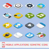 Mobile applications isometric icons — Stock Vector