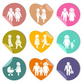 Family stickers set — Stock Vector