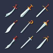Sword icon flat — Vector de stock