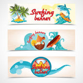 Surfing banners set — 图库矢量图片
