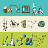 Chemistry research sketch banners set — Stock Vector