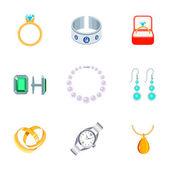 Jewelry Icons Flat — Stock Vector