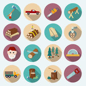 Lumberjack Woodcutter Icons — Stock Vector