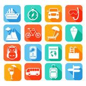 Travel Flat Icons Set — Stock Vector