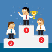 Business life employees on winners podium — Stock Vector