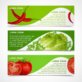 Vegetables banners horizontal — Vettoriale Stock
