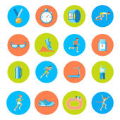 Running icons round — Stock Vector