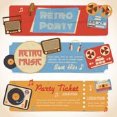 Music retro banners — Stock Vector