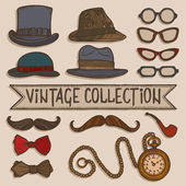 Vintage hats and glasses set — Stock Vector