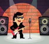 Rock star on stage — Stock Vector