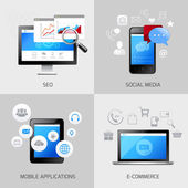 SEO web mobile concepts — Stock Vector