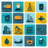 Oil Industry Flat Icons — Vector de stock