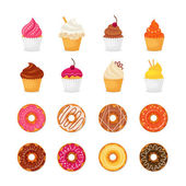 Donut cupcake icon — Stock Vector
