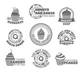 Donut cupcake label — Stock Vector