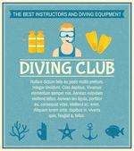 Dykning club affisch — Stockvektor