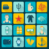 Diving Icons Set — Stock Vector