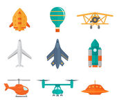 Aircraft Icons Flat — Stock Vector