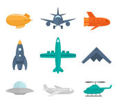 Aircraft Icons Flat — Wektor stockowy
