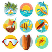 Surfing icons set — Stock Vector