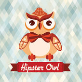 Hipster owl poster — Stock Vector