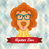 Hipster lion poster — Vector de stock