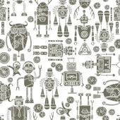 Hipster robot seamless pattern black and white — Stock Vector