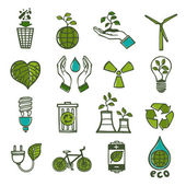Ecology and waste icons set color — Stock Vector