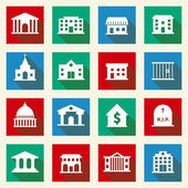 Government Buildings Icons — Vector de stock