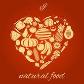 Natural food heart — Stock Vector