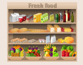 Supermarket shelves food and drinks — Vector de stock