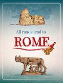 Rome retro poster — Stock Vector