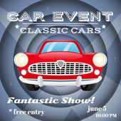 Retro car event poster — Stock Vector