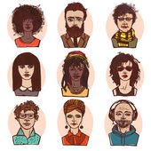 Sketch people portraits colored set — Stok Vektör