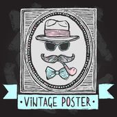 Vintage hats and glasses poster — Stock Vector
