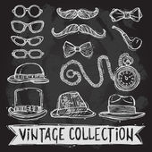 Vintage hats and glasses set — Stockvector