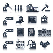Real Estate Black Icons — Stock Vector
