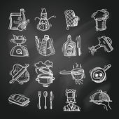 Cooking icons sketch — Vettoriale Stock
