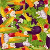 野菜の現実的なシームレスな背景 — ストックベクタ