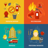 Firefighting icons composition — Stock Vector
