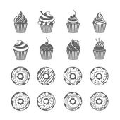 Donut Cupcake Icons — Stock Vector
