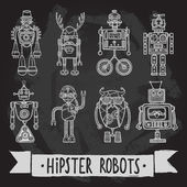 Hipster robot set — Stock Vector