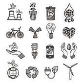 Ecology and waste icons set — Stock Vector